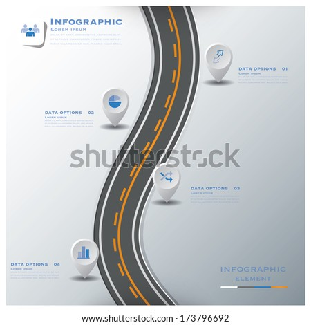 Road & Street Traffic Sign Business Infographic Design Template - stock vector