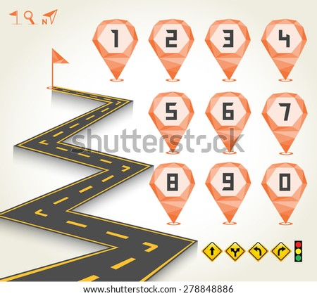 Road & Street with Geometric Map Pointer of Number and Icon Set, Travel Concept, Vectors EPS10. - stock vector