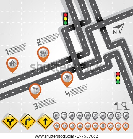 Road & Street with Map Pointer - Marker Icon Set, Travel Concept - stock vector
