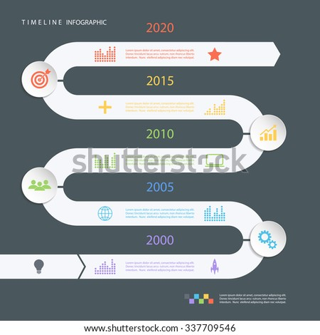 Road timeline infographic design template with color icons. Vector illustration for workflow layout, diagram, number options, web design. - stock vector
