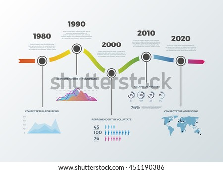 Road timeline infographic for workflow layout banner diagram number options. Timeline decade diagram and statistic presentation timeline. Vector illustration - stock vector