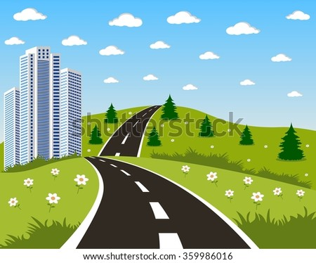 Road to a city - stock vector