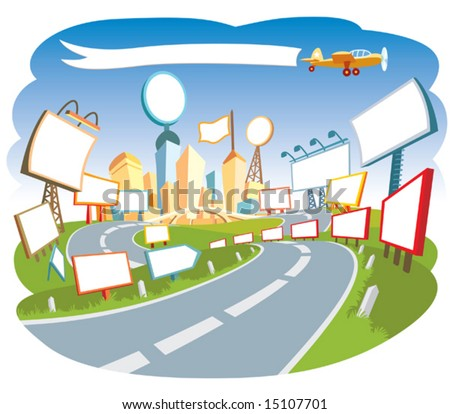 Road to a city center 3. - stock vector