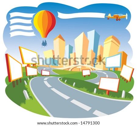 Road to a city center, nice template for a web page. - stock vector