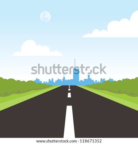 road to city landscape - stock vector