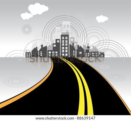 road to city vector - stock vector