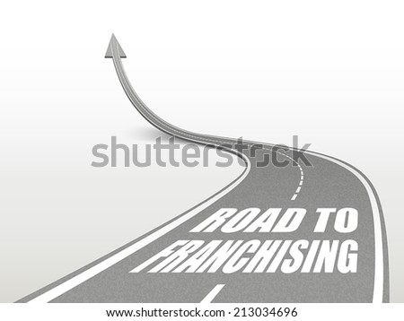 road to franchising words on highway road going up as an arrow - stock vector