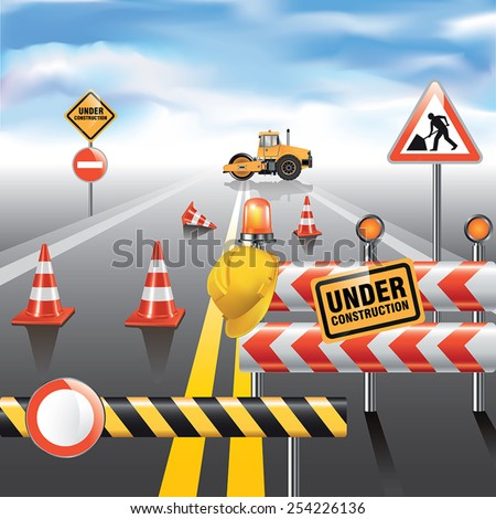 Road to horizon under construction. Vector illustration