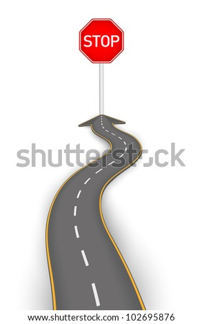 Road to stop board vector illustration - stock vector