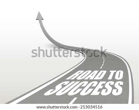 road to success words on highway road going up as an arrow - stock vector