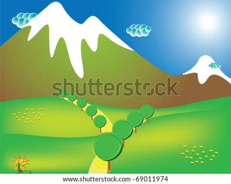 road to the mountains, abstract vector art illustration - stock vector