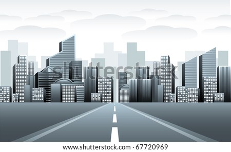Road to urban city - stock vector