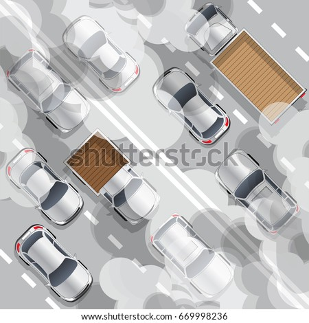 Road traffic. Air pollution. Vector illustration. Air pollution.