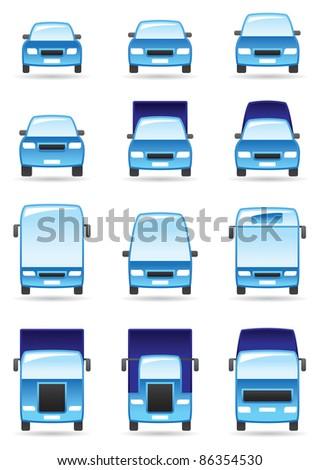 Road transport icons set - vector illustration - stock vector