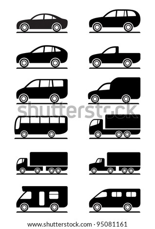 Road transportation icons set - vector illustration - stock vector