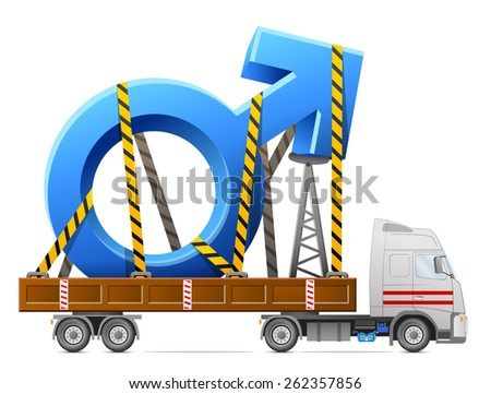 Road transportation of male symbol. Big man sign in back of truck. Qualitative vector illustration about man biology and health, male psychology (father, son), sex differences, gender role, etc - stock vector