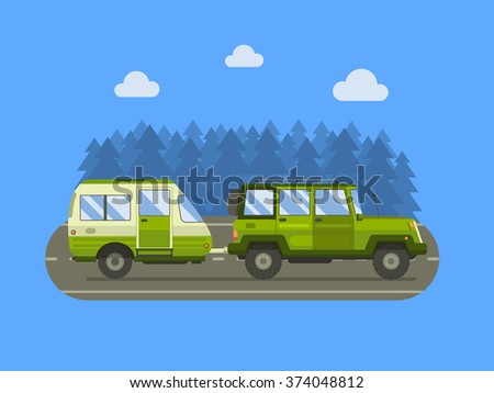 Road travel trailer and SUV driving on forest area road. Family traveler truck summer trip concept. RV travel landscape poster. Camper on road trip. Road travel car. Auto travel concept.