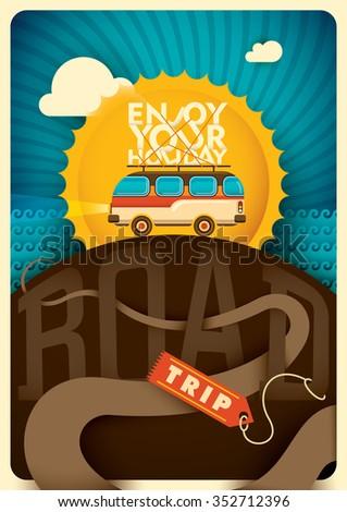 Road trip background. Vector illustration. - stock vector
