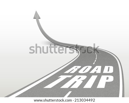 road trip words on highway road going up as an arrow