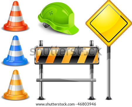 Road warning cone, sign for construction works and helmet isolated on white background