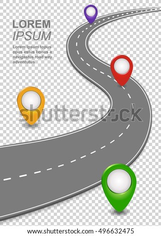Road way navigation infographic highway template stock vector road way navigation infographic highway template with a curvy car freeway roadmap with map pronofoot35fo Choice Image