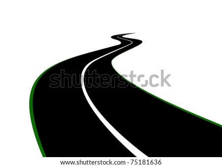 Road with a dividing strip receding into the distance beyond the horizon - stock vector