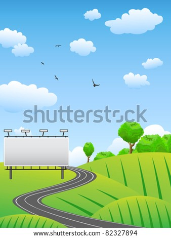 road with billboard on countryside