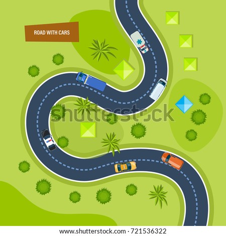 Road With Cars Moving On Top View Concept Of Highway Traffic