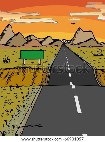 Road with dip and blank sign in a desert area during sunset - stock vector