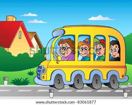 Road with school bus 1 - vector illustration. - stock vector