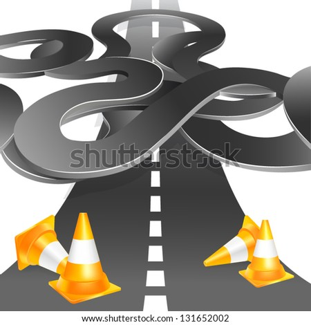 Road with under construction traffic cones. Vector illustration - stock vector