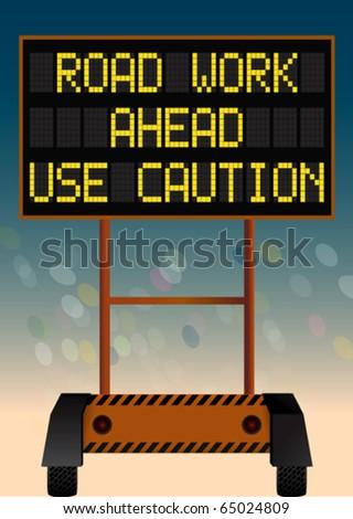 road work digital bulletin board - stock vector