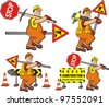 road worker - under construction - stock photo