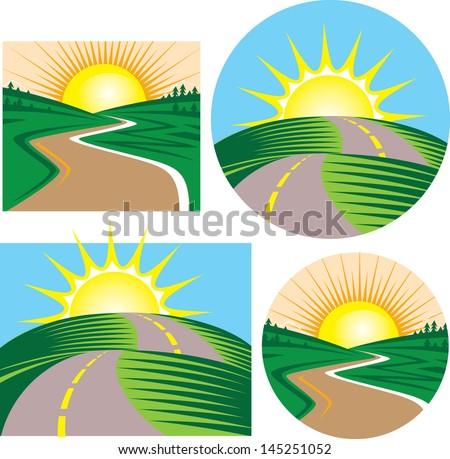Roads and Sunrises - stock vector