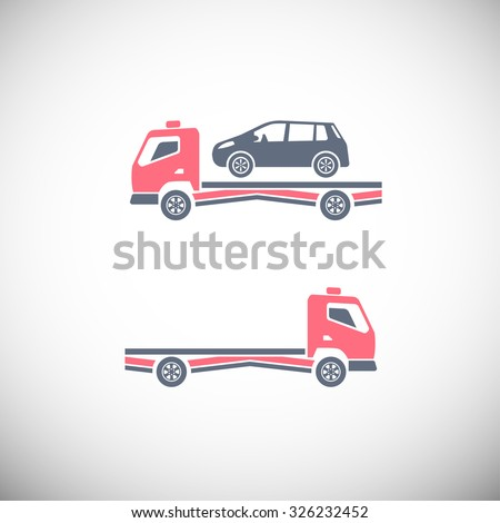 Roadside assistance car towing truck. Vector image for icon, logo and pictogram design. Graphic element in pink, violet and grey colors. - stock vector