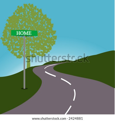Roadsign HOME - stock vector