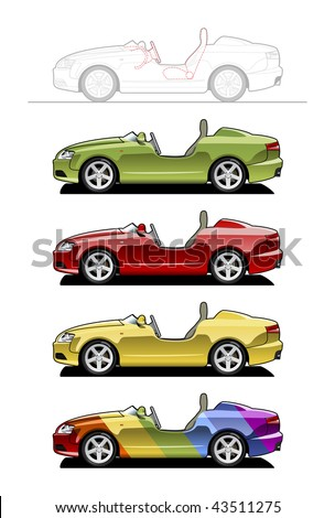 Roadster (barchetta) . part of my collections  of Car body style. Simple gradients only - no gradient mesh - stock vector