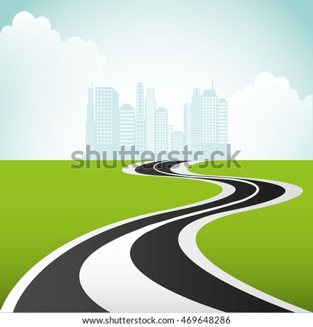 roadway landscape isolated icon vector illustration design