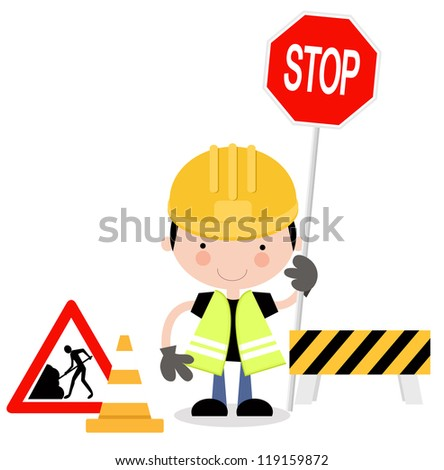 Roadwork Signs with Man Holding up Hand to Stop Traffic - stock vector