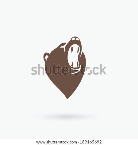 Roaring bear head - vector illustration - stock vector