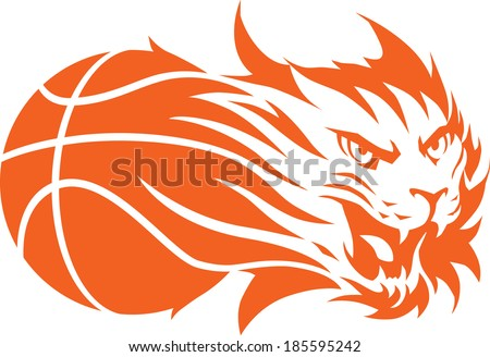 Roaring bobcat with basketball. Isolated illustration. - stock vector