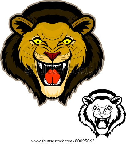 Roaring Lion Head Mascot/ Intense and powerful front view of roaring lion head. - stock vector