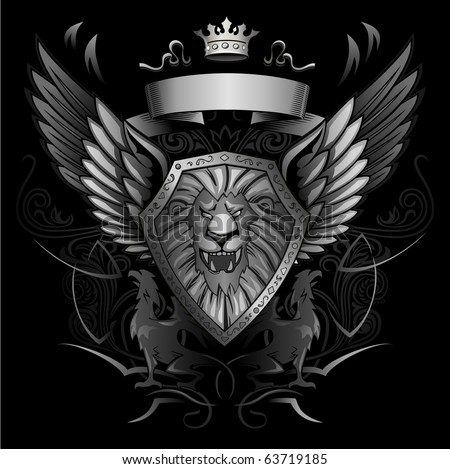 Roaring Lion Winged Shield Insignia - stock vector