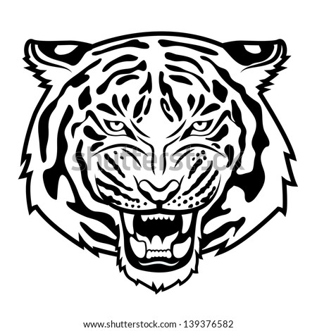 Roaring tiger's head isolated on white. Black and white vector illustration - stock vector