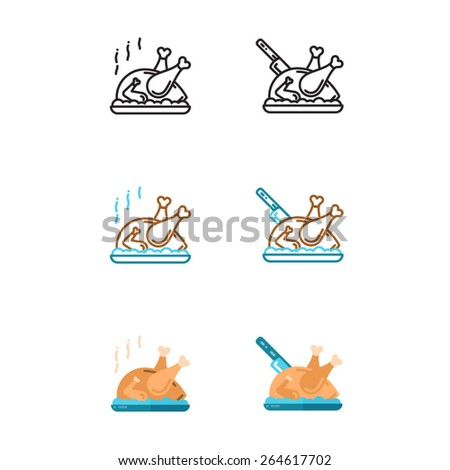 Roast Chicken icons set - Illustration - stock vector