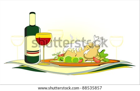 roast chicken  with bottle of wine on served table - stock vector