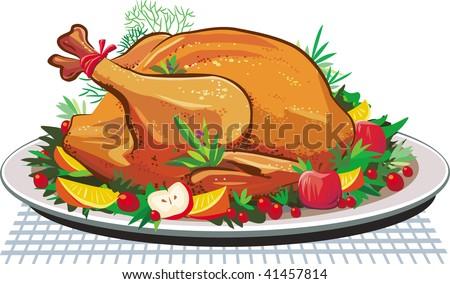 Roast turkey on the plate - stock vector