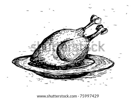 roasted chicken - stock vector