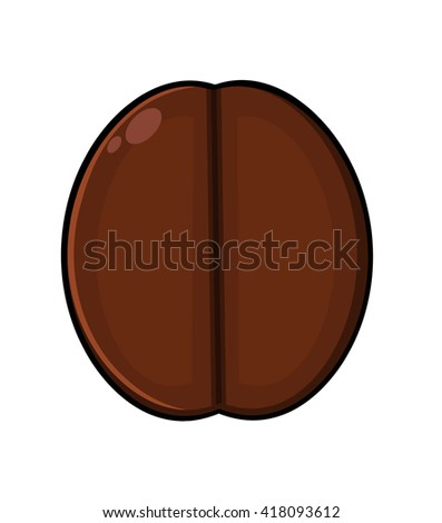 Roasted Coffee Bean Cartoon. Vector Illustration Isolated On White - stock vector