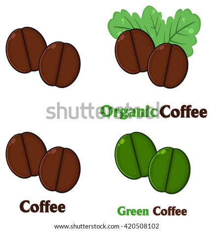 Roasted Coffee Beans Cartoon. Set Vector Collection Isolated On White - stock vector
